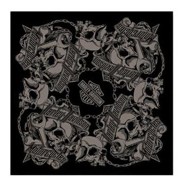 Harley-Davidson Men's Grim Skulls Bandana - Black & Gray, 24 x 24 in BA34180 - Wisconsin Harley-Davidson