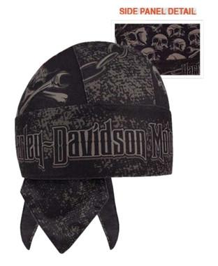 Harley-Davidson Men's Grim Skulls Stretchy & Soft Headwrap, Black HW34180 - Wisconsin Harley-Davidson