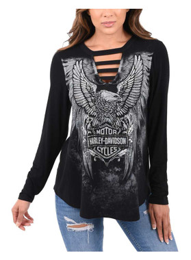 Harley-Davidson Women's Eagle Embellished Long Sleeve Cut-Out V-Neck Top, Black - Wisconsin Harley-Davidson