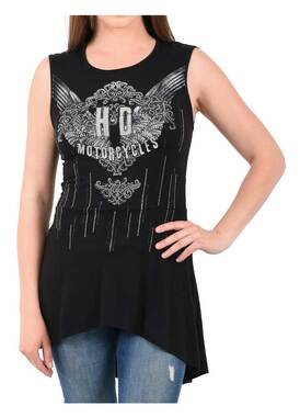 Harley-Davidson Women's Silver Embellished Lace Back Sleeveless Tank Top - Black - Wisconsin Harley-Davidson