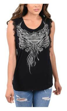 Harley-Davidson Women's Silver Emblem Embellished Sleeveless Tank Top - Black - Wisconsin Harley-Davidson