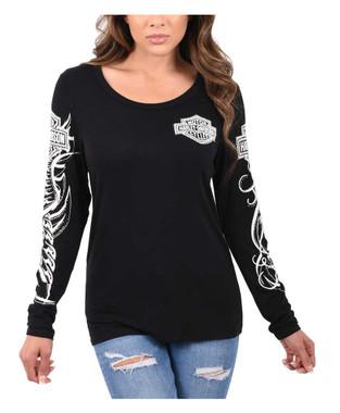 Harley-Davidson Women's Tribal Embellished Long Sleeve Scoop Neck Shirt, Black - Wisconsin Harley-Davidson