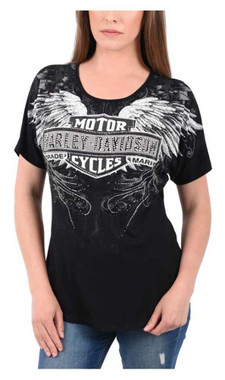 Harley-Davidson Women's Alpha Embellished Short Sleeve Loose Fit T-Shirt, Black - Wisconsin Harley-Davidson