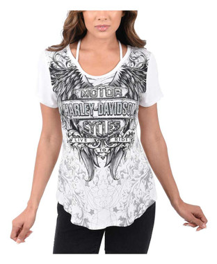 Harley-Davidson Women's Coat of Arms Embellished Short Sleeve T-Shirt - Ivory - Wisconsin Harley-Davidson