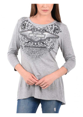 Harley-Davidson Women's Embellished B&S Crossover Open Back 3/4 Sleeve Top, Gray - Wisconsin Harley-Davidson