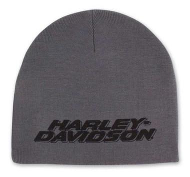 Harley-Davidson Men's Printed H-D Polyester Knit Beanie Cap - Gray KN51654 - Wisconsin Harley-Davidson
