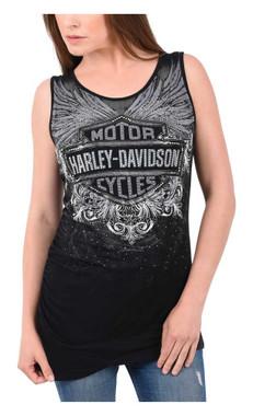 Harley-Davidson Women's Crimson Plume B&S Embellished Ruching Tank Top - Black - Wisconsin Harley-Davidson