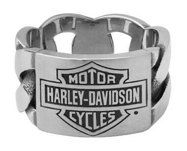 Harley-Davidson Men's B&S ID Chain Band Ring, Silver Stainless Steel HSR0072 - Wisconsin Harley-Davidson