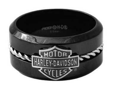 Harley-Davidson Men's Silver Wire B&S Band Ring, Black Stainless Steel HSR0070 - Wisconsin Harley-Davidson