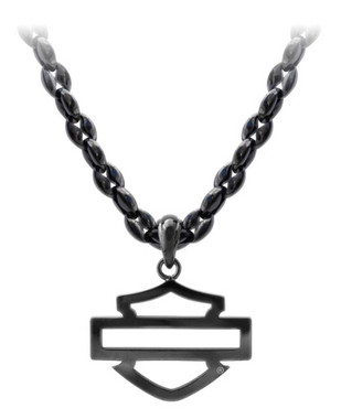 Harley-Davidson Men's Blackout Outline B&S Necklace, Stainless Steel HSN0061 - Wisconsin Harley-Davidson