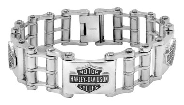 Harley-Davidson Men's Bike Chain Bar & Shield Bracelet, Stainless Steel HSB0207 - Wisconsin Harley-Davidson