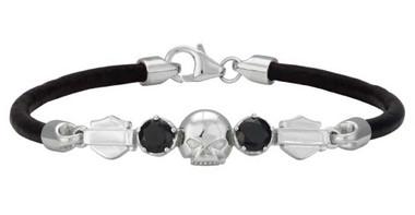 Harley-Davidson Women's Skull & Stone Leather Bracelet -Silver/Black HDB0431-6.5 - Wisconsin Harley-Davidson