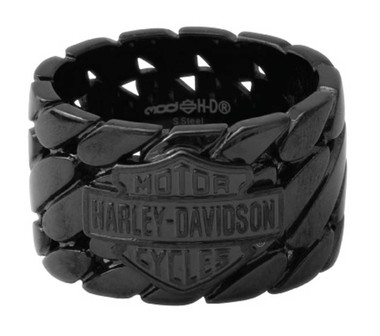 Harley-Davidson Men's Blackout B&S Logo Band Ring, Black Stainless Steel HSR0068 - Wisconsin Harley-Davidson