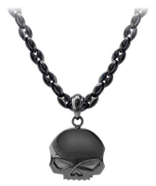 Harley-Davidson Men's Blackout Willie G Skull Necklace, Stainless Steel HSN0063 - Wisconsin Harley-Davidson