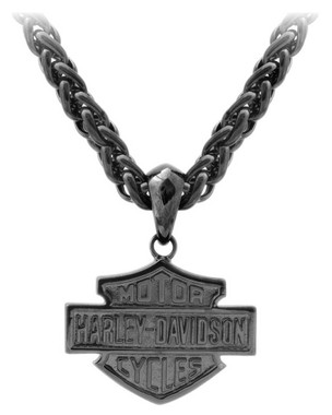 Harley-Davidson Men's Blackout Bar & Shield Necklace, Stainless Steel HSN0062 - Wisconsin Harley-Davidson