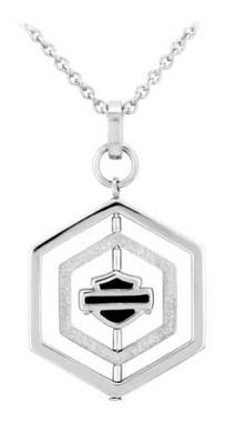 Harley-Davidson Women's Hexagon B&S Spinner Necklace, Sterling Silver HDN0437 - Wisconsin Harley-Davidson