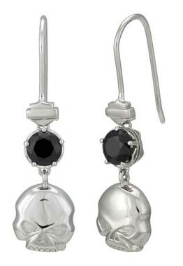 Harley-Davidson Women's Skull & Stone Drop Earrings, Sterling Silver HDE0519 - Wisconsin Harley-Davidson