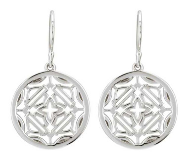 Harley-Davidson Women's B&S Medallion Dangle Earrings, Sterling Silver HDE0509 - Wisconsin Harley-Davidson