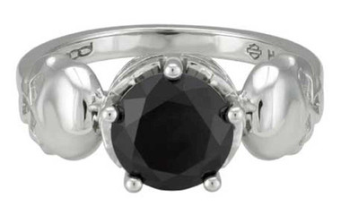 Harley-Davidson Women's Silver Skull & Black Stone Ring, Sterling Silver HDR0514 - Wisconsin Harley-Davidson