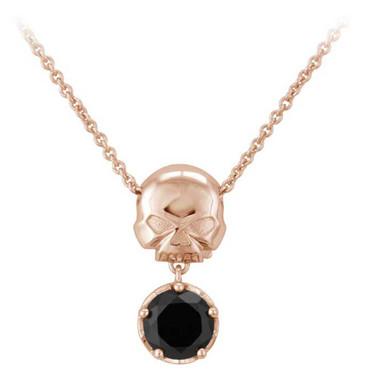 Harley-Davidson Womens Rose Gold Skull & Black Stone Necklace, Sterling HDN0446 - Wisconsin Harley-Davidson