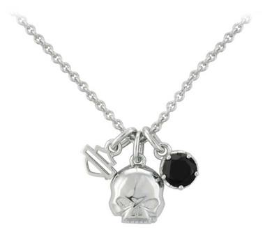 Harley-Davidson Womens Skull & Stone Charm Necklace, Sterling Silver HDN0445-16 - Wisconsin Harley-Davidson
