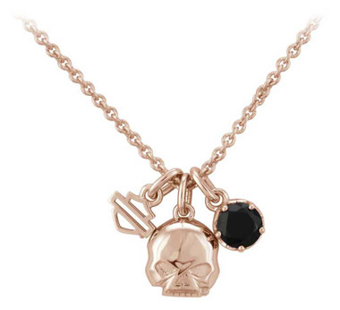 Harley-Davidson Womens Rose Gold Skull & Stone Charm Chain Necklace HDN0444-16 - Wisconsin Harley-Davidson