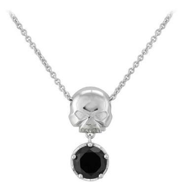 Harley-Davidson Womens Silver Skull & Stone Necklace, Sterling Silver HDN0443-16 - Wisconsin Harley-Davidson