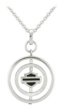 Harley-Davidson Women's Circle B&S Spinner Necklace, Sterling Silver HDN0438 - Wisconsin Harley-Davidson