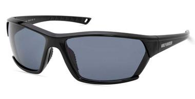 Harley-Davidson Men's Geometric Shape Sunglasses, Shiny Black Frame & Smoke Lens - Wisconsin Harley-Davidson
