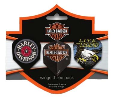 Harley-Davidson Wings Assorted Dart Pentathon Flights Pack-Pack of 6, Black 644D - Wisconsin Harley-Davidson