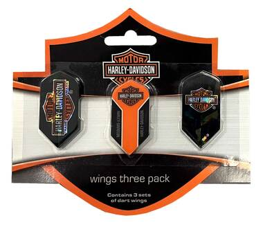 Harley-Davidson Wings Assorted Dart Slim Flights Pack - Pack of 9 - Black 642D - Wisconsin Harley-Davidson