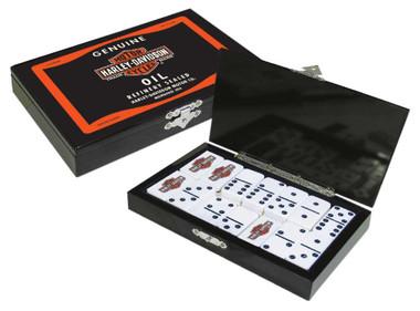 Harley-Davidson Oil Can Bar & Shield Domino Set, Durable Polyester Resin 66919 - Wisconsin Harley-Davidson