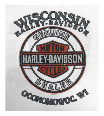Harley-Davidson Men's Eagle Grunge H-D Long Sleeve Crew-Neck T-Shirt, White - Wisconsin Harley-Davidson