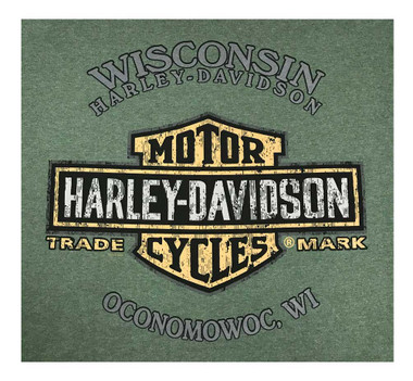 Harley-Davidson Men's Forward Stack Distress Short Sleeve Crew T-Shirt, Green - Wisconsin Harley-Davidson