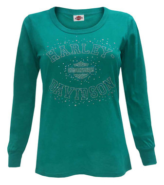 Harley-Davidson Womens Starstruck Embellished Long Sleeve Scoop Neck Shirt, Teal - Wisconsin Harley-Davidson