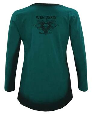 Harley-Davidson Womens Patina Sheen Long Sleeve Dye V-Neck Shirt - Teal & Black - Wisconsin Harley-Davidson