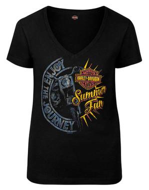 Harley-Davidson Women's Summer Journey V-Neck Short Sleeve T-Shirt, Black - Wisconsin Harley-Davidson