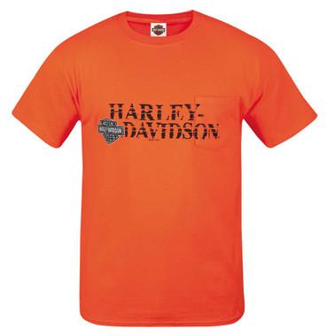 Harley-Davidson Mens Off Center Short Sleeve Chest Pocket T-Shirt, Bright Orange - Wisconsin Harley-Davidson