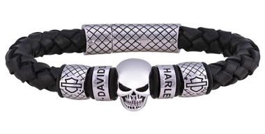 Harley-Davidson Men's Skull Braided Leather Bracelet - Black & Silver HSB0218 - Wisconsin Harley-Davidson