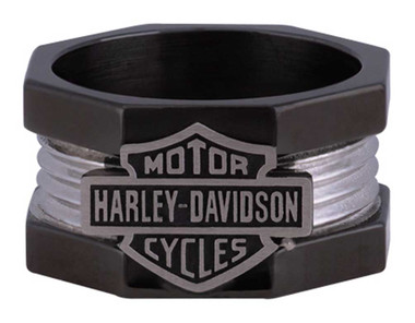 Harley-Davidson Men's Nut & Bolt Bar & Shield Band Ring, Stainless Steel HSR0075 - Wisconsin Harley-Davidson