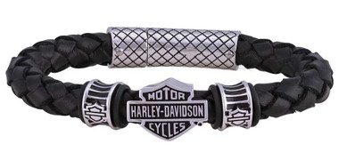 Harley-Davidson Men's Bar & Shield Braided Leather Bracelet - Black HSB0217 - Wisconsin Harley-Davidson