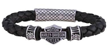 Harley-Davidson Men's Bar & Shield Braided Leather Bracelet - Black HSB0217 - Wisconsin Harley-Davidson