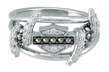 Harley-Davidson Women's Bling Barb Wire Ring, Shiny Sterling Silver HDR0525 - Wisconsin Harley-Davidson