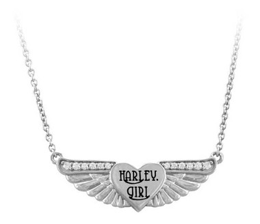 Harley-Davidson Womens Bling Harley Girl Wing Necklace, Shiny Silver HDN0453 - Wisconsin Harley-Davidson