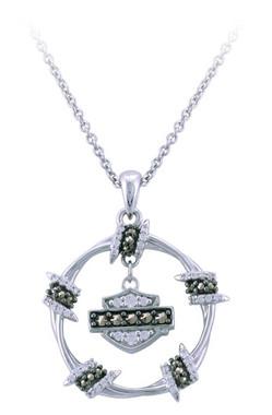 Harley-Davidson Womens Bling Bard Wire Circle Necklace, Shiny Silver HDN0452 - Wisconsin Harley-Davidson