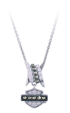 Harley-Davidson Womens Bling Bard Wire B&S Necklace, Sterling Silver HDN0451 - Wisconsin Harley-Davidson