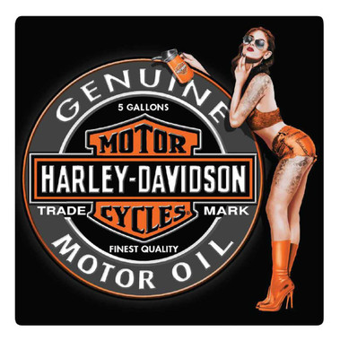 Harley-Davidson Bar & Shield Oil Babe Tin Sign, 14.5 x 14.5 inches 2012051 - Wisconsin Harley-Davidson