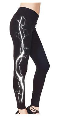 Revive Women's Embellished Lightning Fashion Leggings w/ Back Pockets - Black - Wisconsin Harley-Davidson