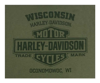 Harley-Davidson Men's Tonal Bolted One Short Sleeve Crew-Neck T-Shirt, Green - Wisconsin Harley-Davidson