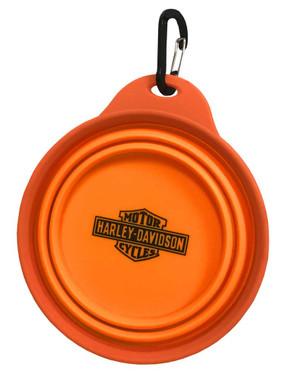 Harley-Davidson Bar & Shield Collapsible Pet Travel Water & Food Bowl - Orange - Wisconsin Harley-Davidson